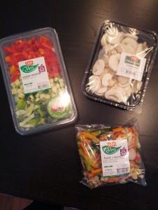Hakkede grøntsager