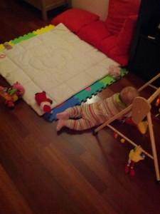 ...og få minutter efter lå hun her!