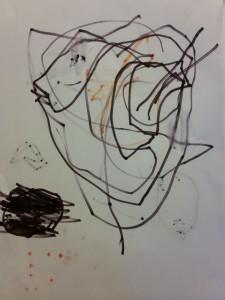 Ida kom stolt og fortalte at hun havde tegnet 'Onkel Arné' (René) og at han var en mand :)
