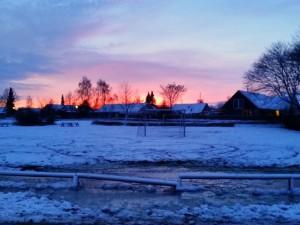 Den fineste vinter-solnedgang over Malling