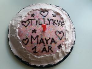 1 stk. lyserød kage til 1 stk. prinsesse