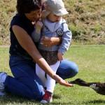 Ida og Andemor fodrer ænderne på campingpladsen