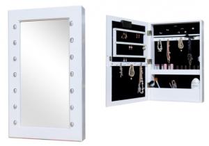 Jox vægspegl med smykkeskab i hvid